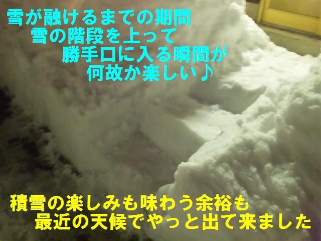 雪の階段が楽しい