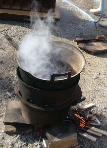 桐たんすの再生(洗い替え)  熱湯