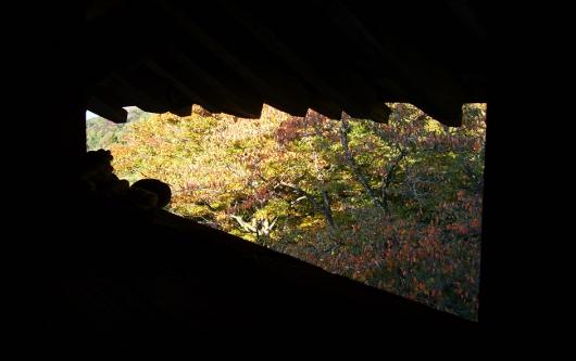 さざえ堂から見た紅葉