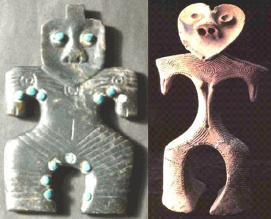 トルコ石象嵌神像.とハート型土偶