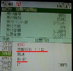 馬連シンザン記念IPAT携帯画面
