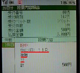 100110中山11R複勝的中IPAT携帯画面