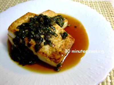 ニラ醤油DE豆腐ステーキ