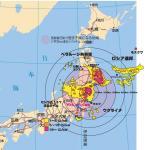 福島原発事故、チェルノブイリ原発事故汚染地域比較図