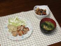 1/13 夕食 鶏のガーリック焼き、ひじき煮、小松菜の味噌汁