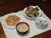 1/29 夕食 肉野菜炒め、温野菜サラダ、豚汁、しらすワカメご飯