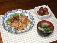 2/4 夕食 豆腐ひじきバーグきのこあんかけ、玉こんにゃくのピリ辛煮、エノキとわかめの味噌汁