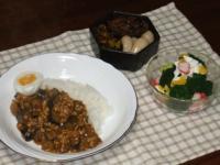 2/13 夕食 キーマカレー、ブロッコリーのサラダ