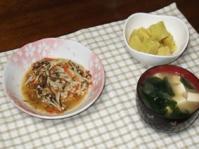 2/17 夕食 豆腐バーグえのきともずくあんかけ、さつまいものレモン煮、、豆腐とワカメの味噌汁