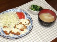 2/20 夕食 カキフライ、きゅうりもずく酢、じゃがたま味噌汁