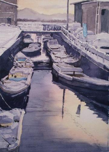 朝の漁港   25×34