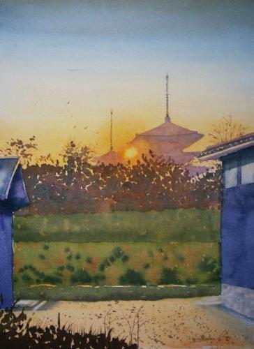 夕日に染まる薬師寺26×35