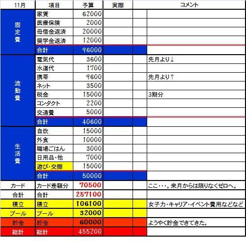 2013 11月予算