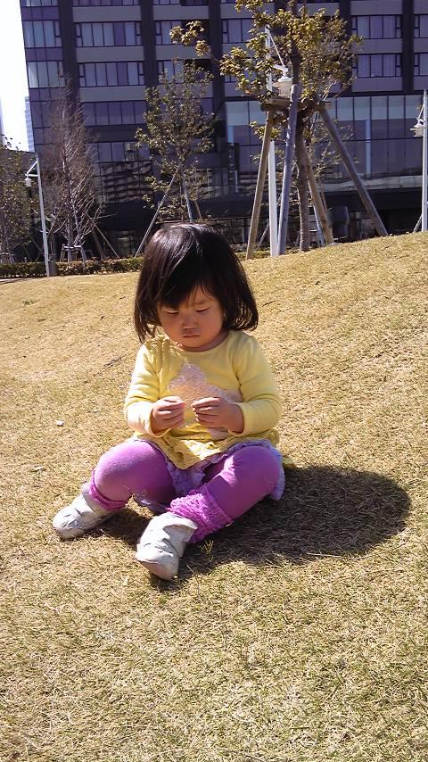 芝生の上座る
