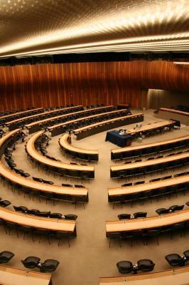 a UN meeting room