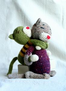 編み猫親子