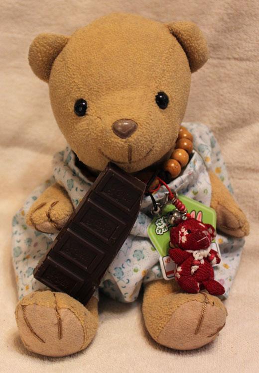 チョコレートを囓る