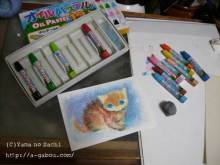 $あしあと工房 in 神戸波止場町TEN×TEN-オイルパステル猫1