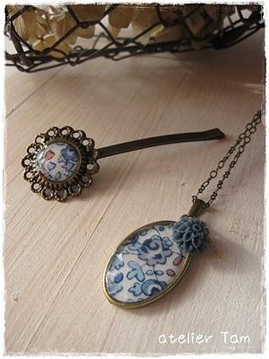樹脂ネックレスとヘアピン・Eloise