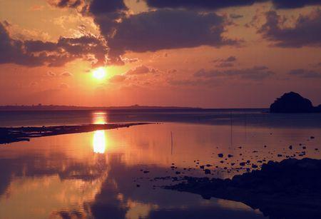 きょうの夕日。
