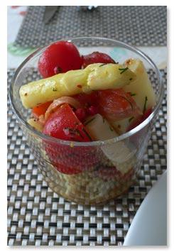 白アスパラとサーモンのサラダ