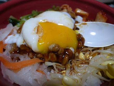 ほっともっと「とろたま納豆ビビンバ丼」3