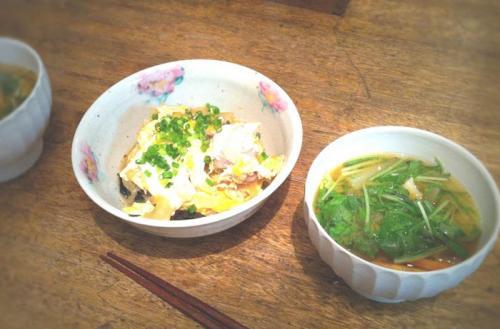 親子丼とお味噌汁