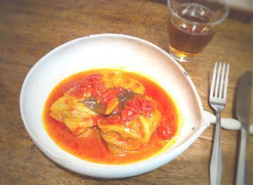 ロールロールキャベツ 真っ赤なトマトスープ