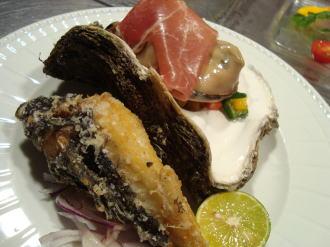 牡蠣とオコゼ