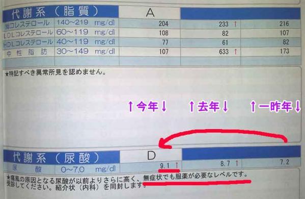 中性脂肪・尿酸数値(クリックで画像を拡大する)