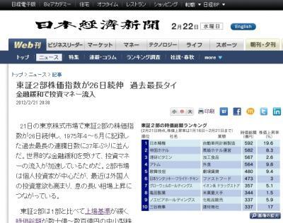 """""""東証2部株価指数が26日続伸 過去最長タイ"""""""