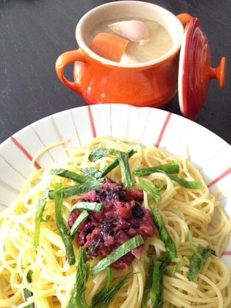 梅と大葉のパスタ+野菜のポトフ