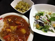 トマトカレー・ピクルス・オリーブと大根のグリーンサラダ