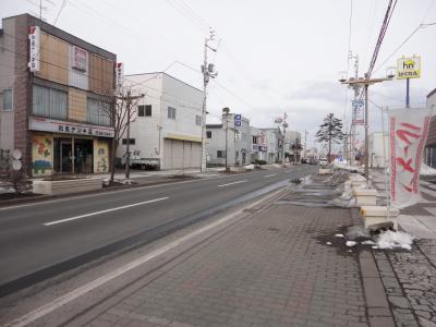 お店の前の道@味の大王大町店(白老町)