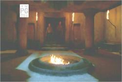 石像の中の燃え上がる穴