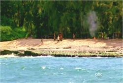 遠くから誰かが見ているビーチの様子