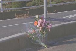 道路に供えられた花。多分、珠理奈の。
