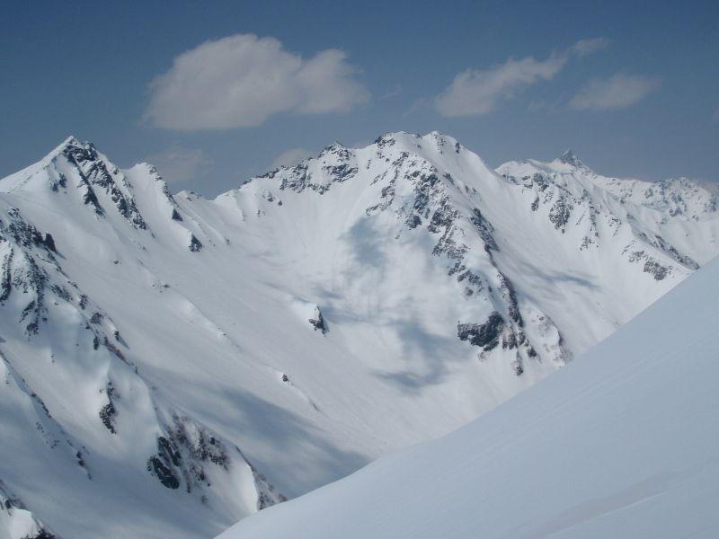 。北尾根34のコルから涸沢岳、北穂高岳、槍ケ岳