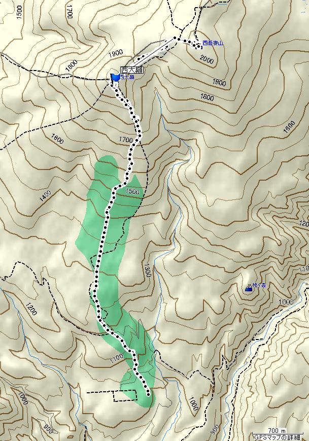西吾妻山地図