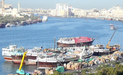 Dubai Creek Dhow ships from the hotel