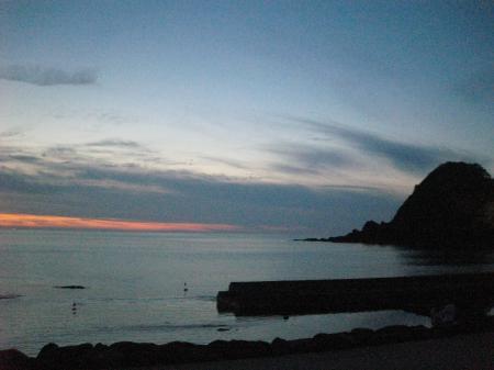 ギリギリ到着夕方の海