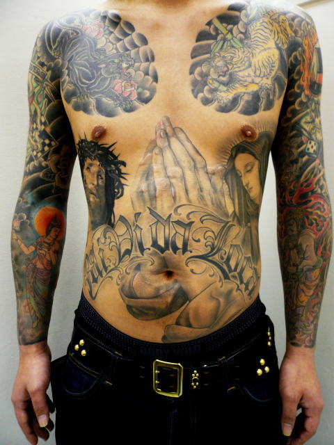 TATTOO KOBAYASHI BLACK&GRAY JESUS MARIA PRAYHAND DAYOFTHEDEAD