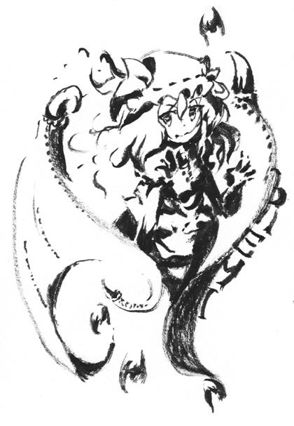 筆ペンで一発描きレミリア