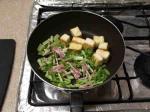 大根葉と豆腐のベーコン炒め6