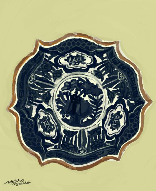 染付輪花鉢