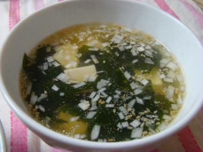 わかめと豆腐のスープ!