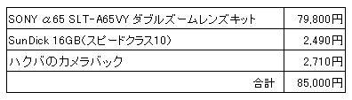 デジタル一眼カメラ2012.03.11購入一式