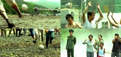 炭鉱でのサッカーの試合