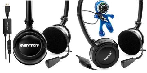 Skype用 ヘッドセットとWebカメラ付ヘッドセット