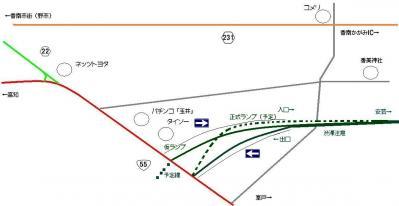 香南のいちインターチェンジの大まかマップ